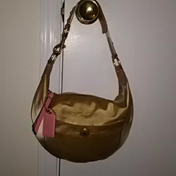aeaf58b77b Coach Bags | Gorgeous Gold Silk And Leather Hobo | Poshmark
